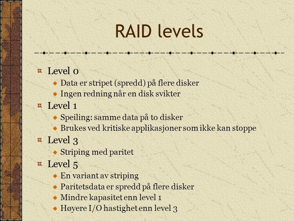 RAID levels Level 0 Level 1 Level 3 Level 5