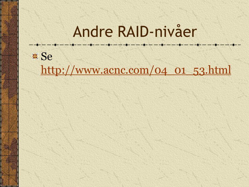 Andre RAID-nivåer Se http://www.acnc.com/04_01_53.html