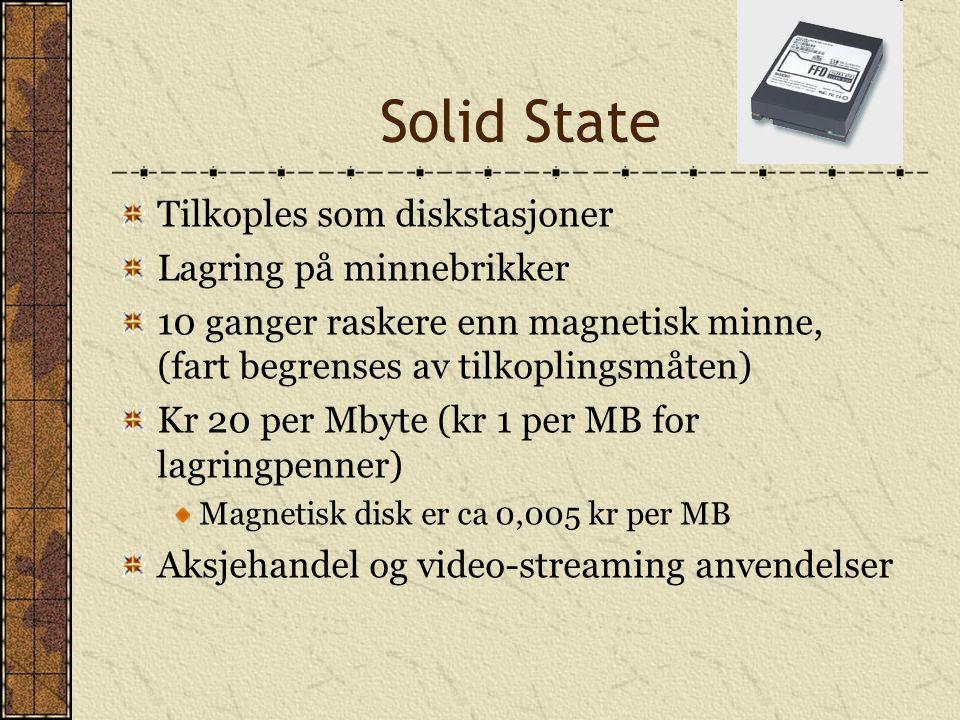 Solid State Tilkoples som diskstasjoner Lagring på minnebrikker