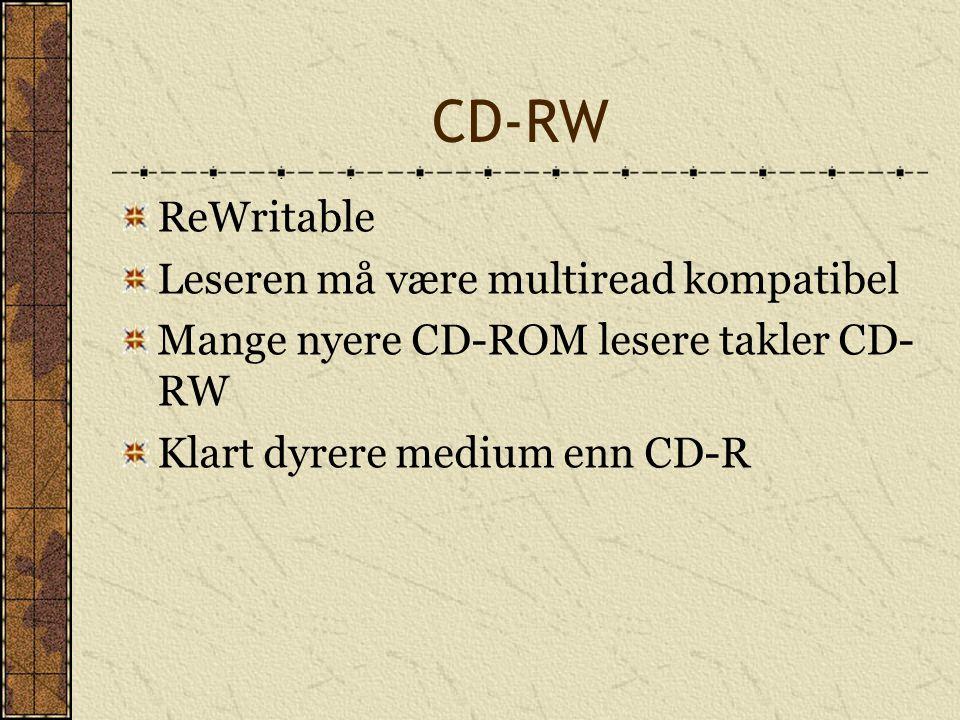 CD-RW ReWritable Leseren må være multiread kompatibel