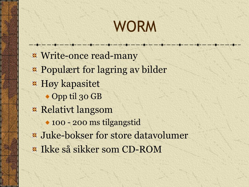 WORM Write-once read-many Populært for lagring av bilder Høy kapasitet