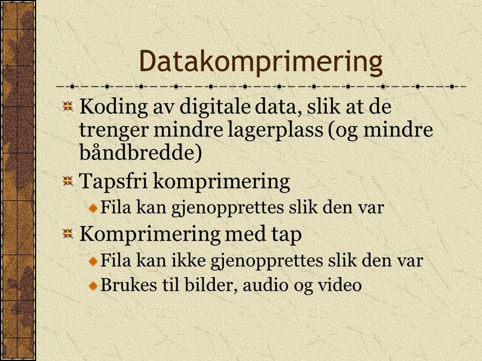 Datakomprimering Koding av digitale data, slik at de trenger mindre lagerplass (og mindre båndbredde)
