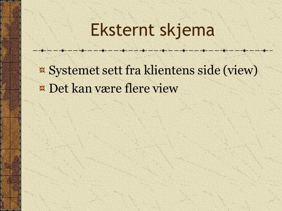 Eksternt skjema Systemet sett fra klientens side (view)