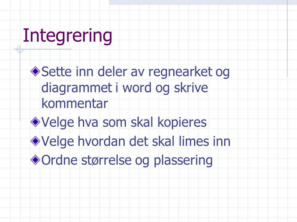 Integrering Sette inn deler av regnearket og diagrammet i word og skrive kommentar. Velge hva som skal kopieres.