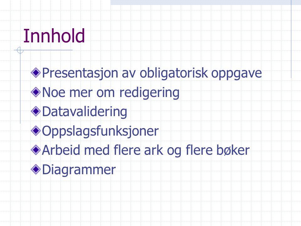 Innhold Presentasjon av obligatorisk oppgave Noe mer om redigering