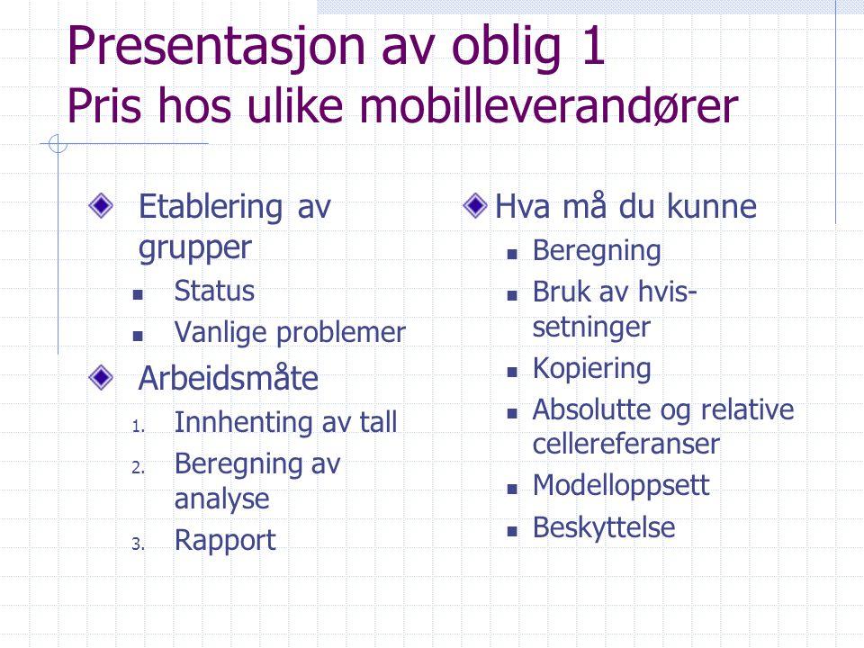 Presentasjon av oblig 1 Pris hos ulike mobilleverandører
