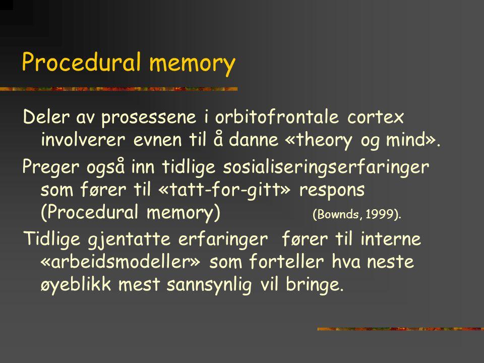 Procedural memory Deler av prosessene i orbitofrontale cortex involverer evnen til å danne «theory og mind».
