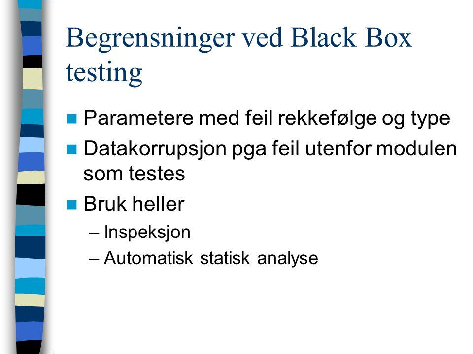 Begrensninger ved Black Box testing