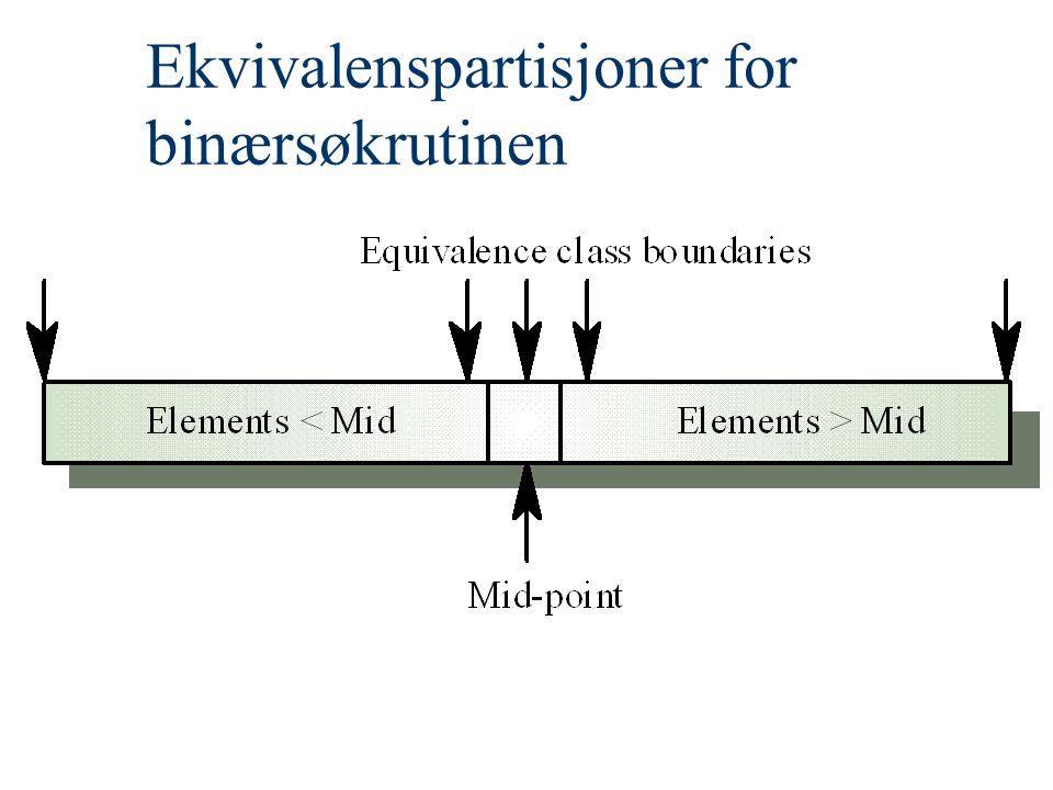 Ekvivalenspartisjoner for binærsøkrutinen