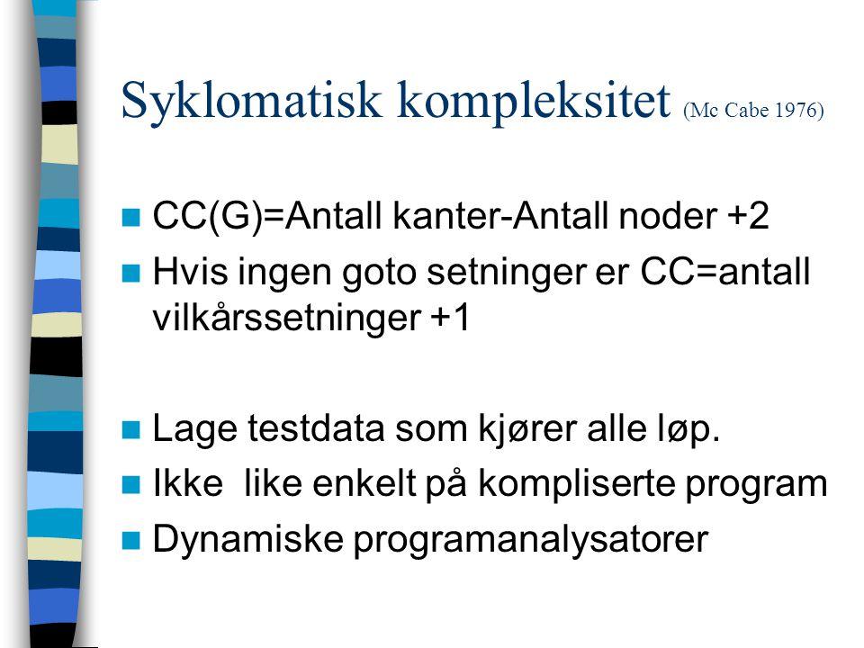 Syklomatisk kompleksitet (Mc Cabe 1976)