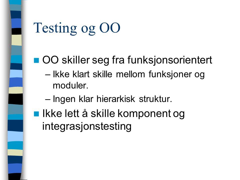 Testing og OO OO skiller seg fra funksjonsorientert