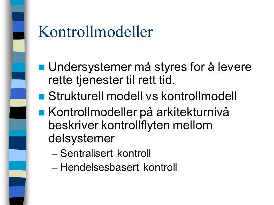 Kontrollmodeller Undersystemer må styres for å levere rette tjenester til rett tid. Strukturell modell vs kontrollmodell.