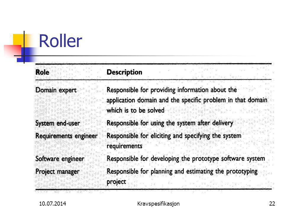 Roller 04.04.2017 Kravspesifikasjon