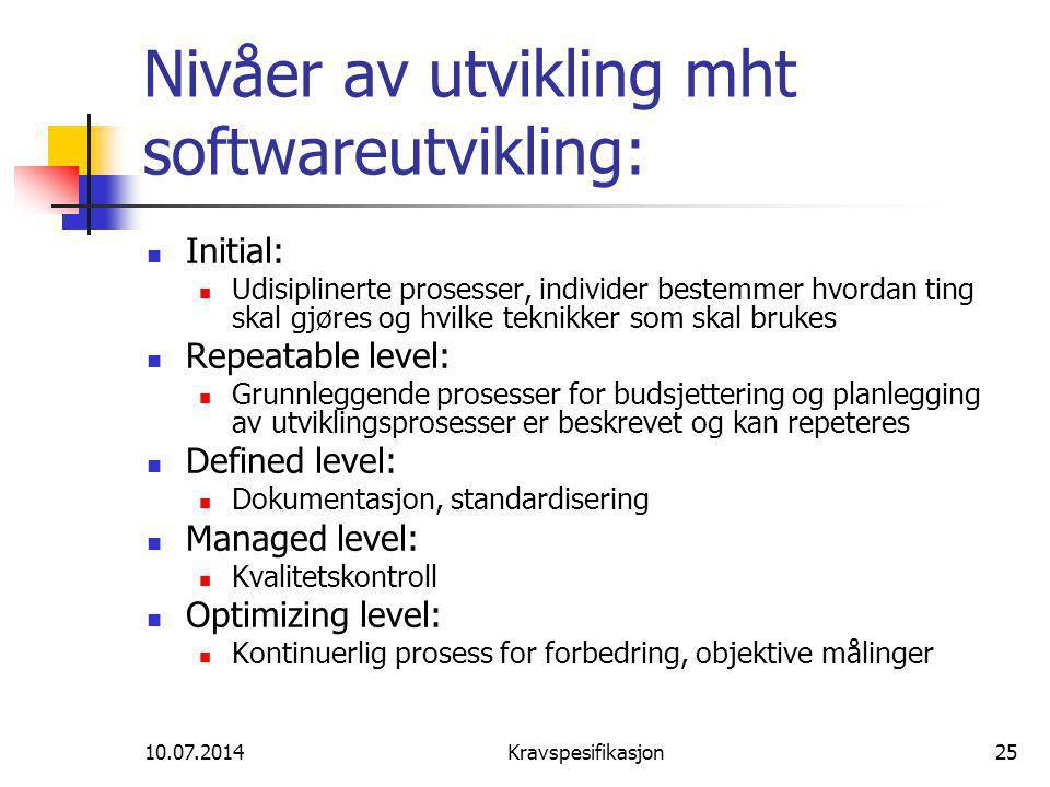 Nivåer av utvikling mht softwareutvikling: