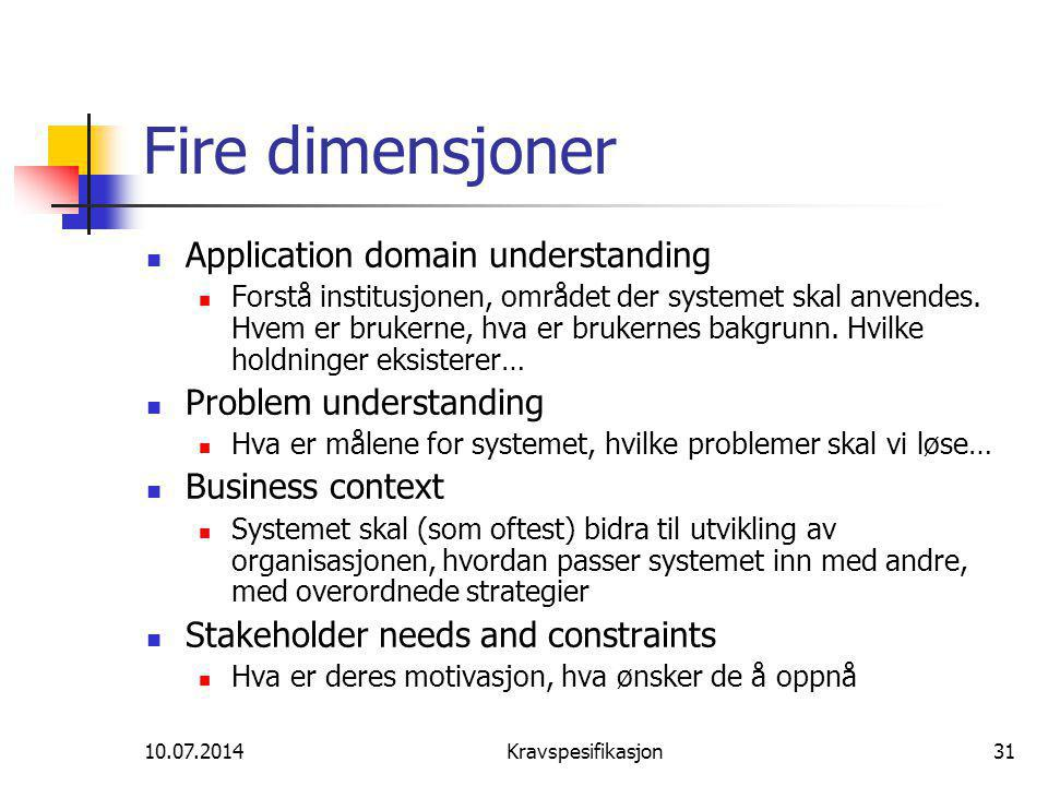 Fire dimensjoner Application domain understanding