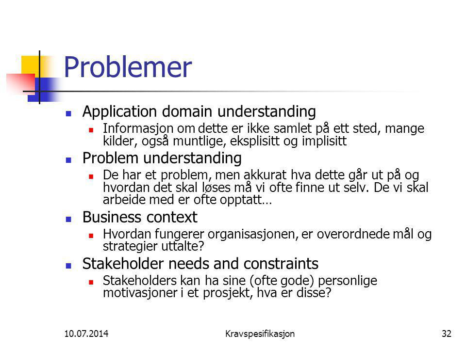 Problemer Application domain understanding Problem understanding