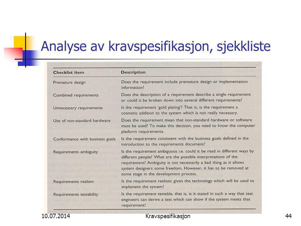 Analyse av kravspesifikasjon, sjekkliste