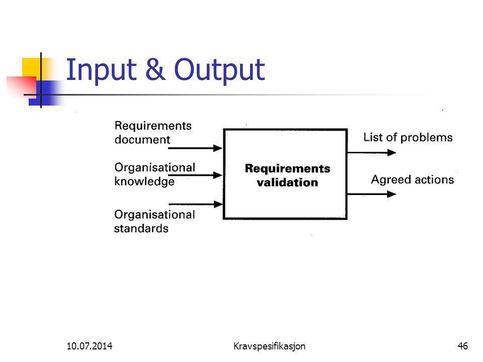 Input & Output 04.04.2017 Kravspesifikasjon