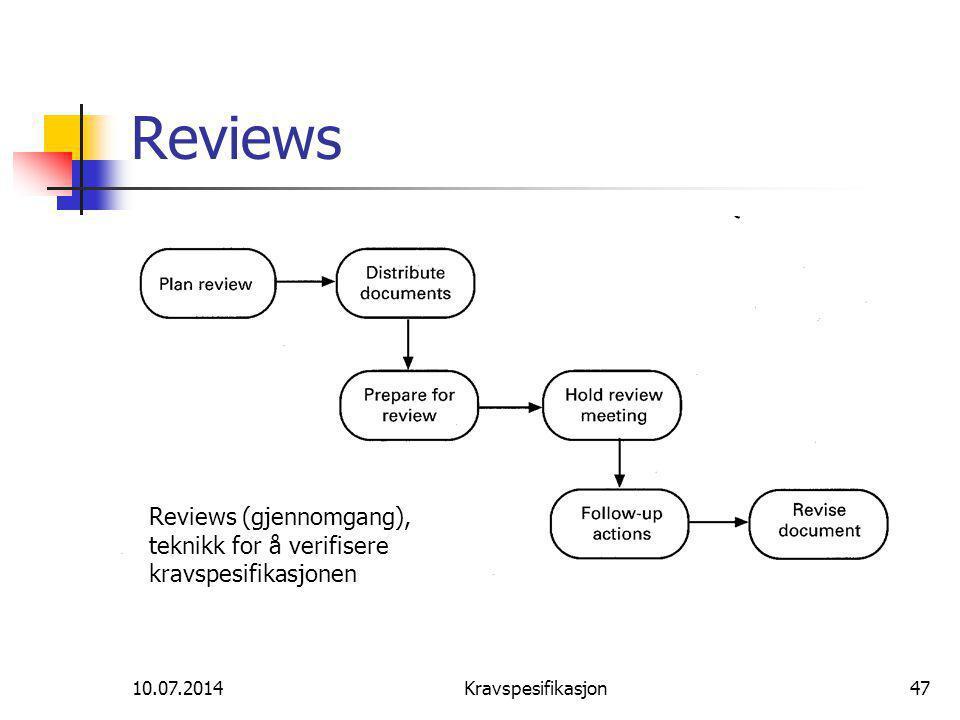 Reviews Reviews (gjennomgang), teknikk for å verifisere kravspesifikasjonen.