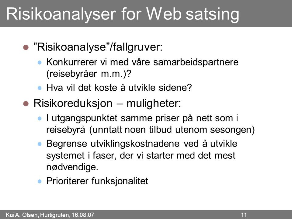 Risikoanalyser for Web satsing