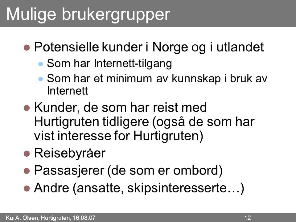 Mulige brukergrupper Potensielle kunder i Norge og i utlandet