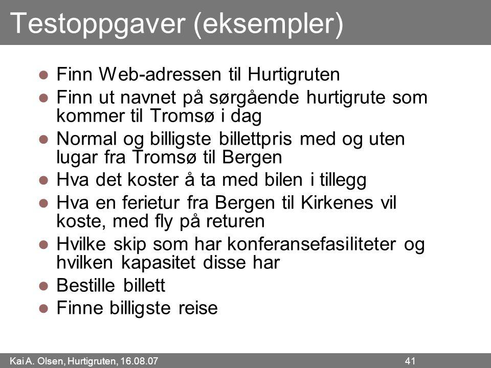 Testoppgaver (eksempler)