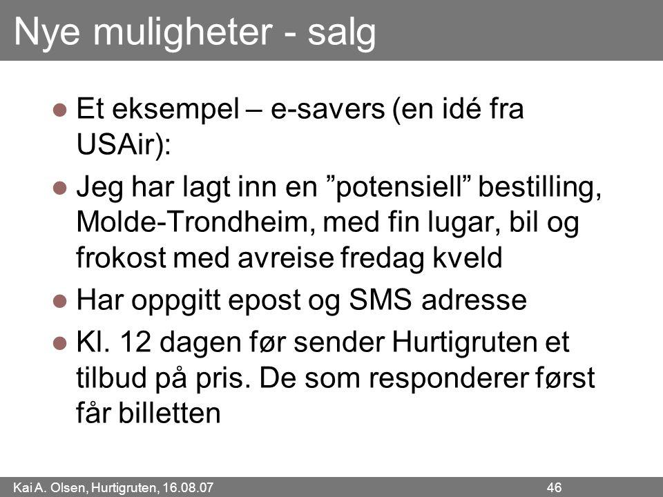 Nye muligheter - salg Et eksempel – e-savers (en idé fra USAir):