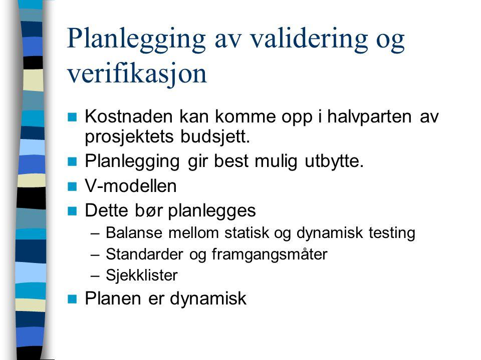 Planlegging av validering og verifikasjon
