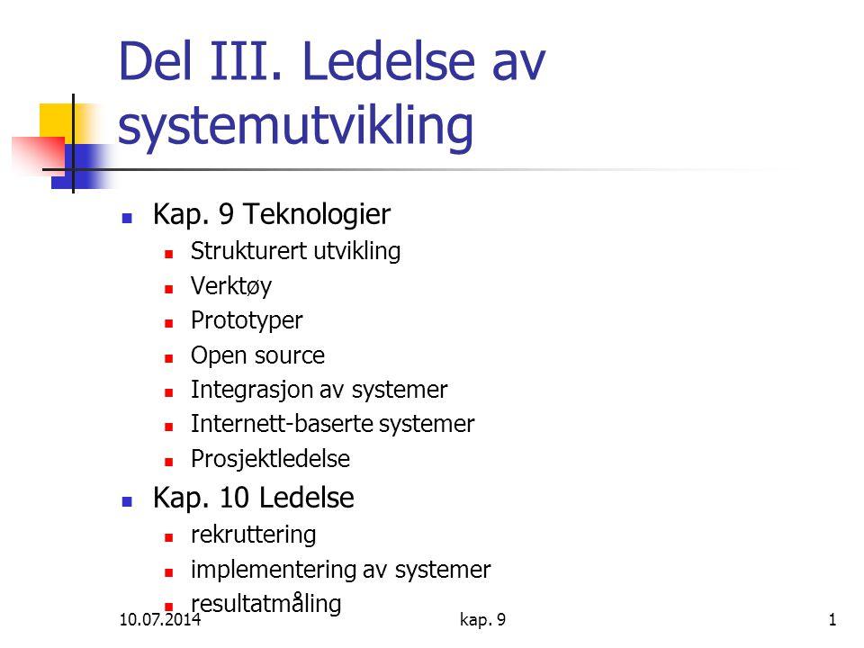 Del III. Ledelse av systemutvikling