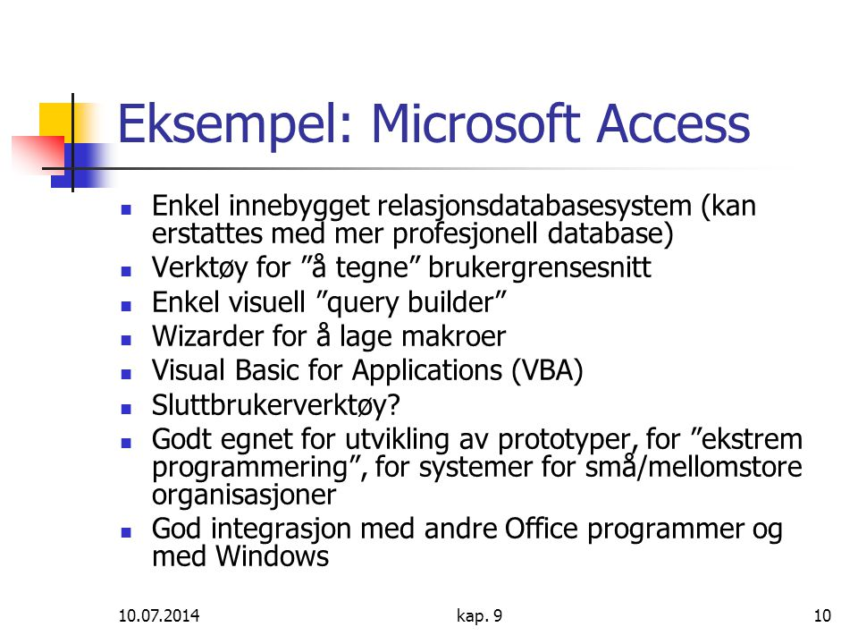 Eksempel: Microsoft Access