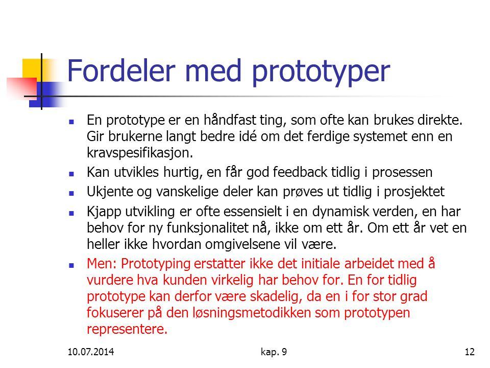 Fordeler med prototyper