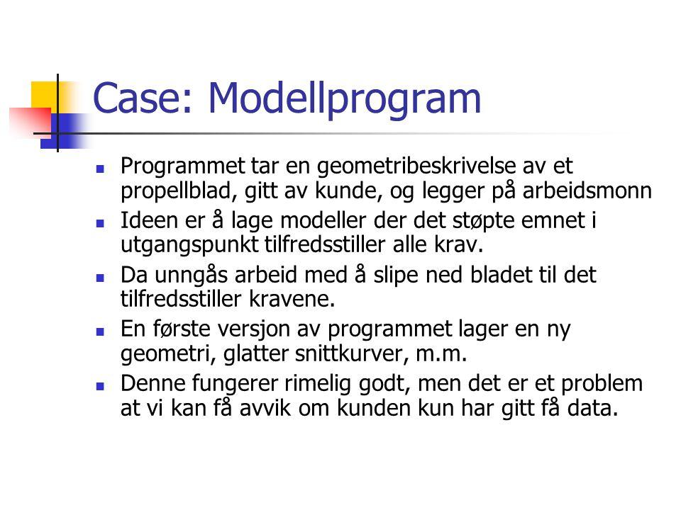 Case: Modellprogram Programmet tar en geometribeskrivelse av et propellblad, gitt av kunde, og legger på arbeidsmonn.