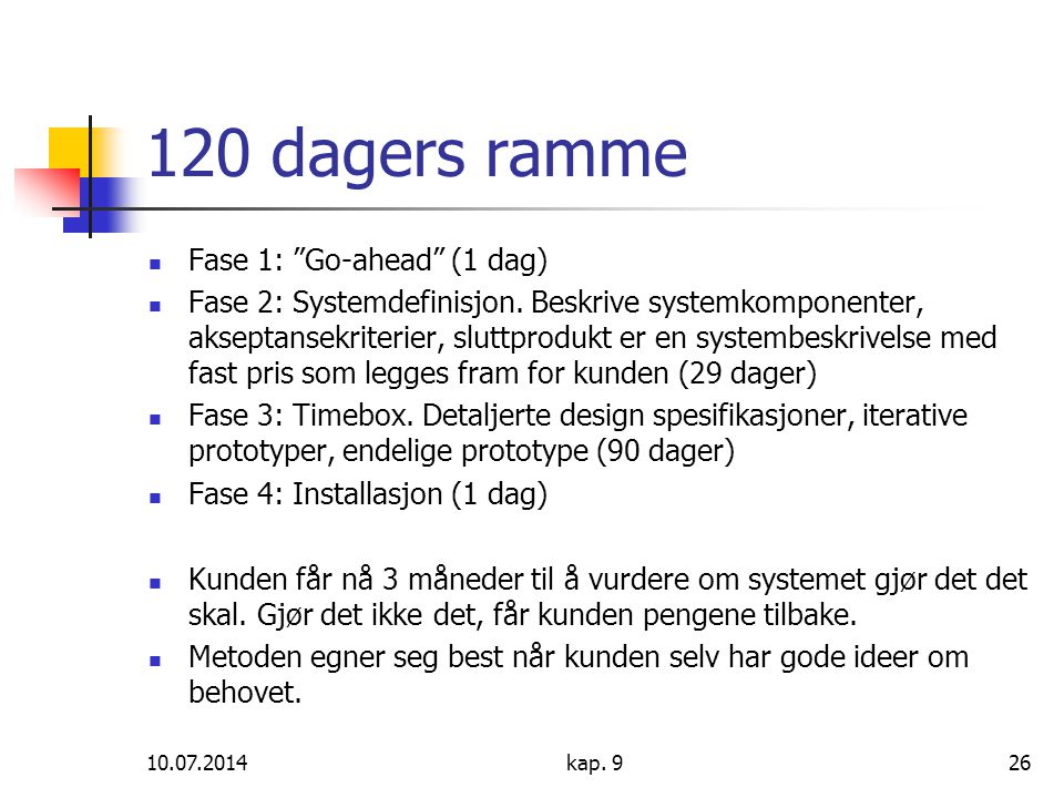 120 dagers ramme Fase 1: Go-ahead (1 dag)