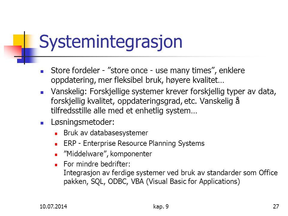 Systemintegrasjon Store fordeler - store once - use many times , enklere oppdatering, mer fleksibel bruk, høyere kvalitet…
