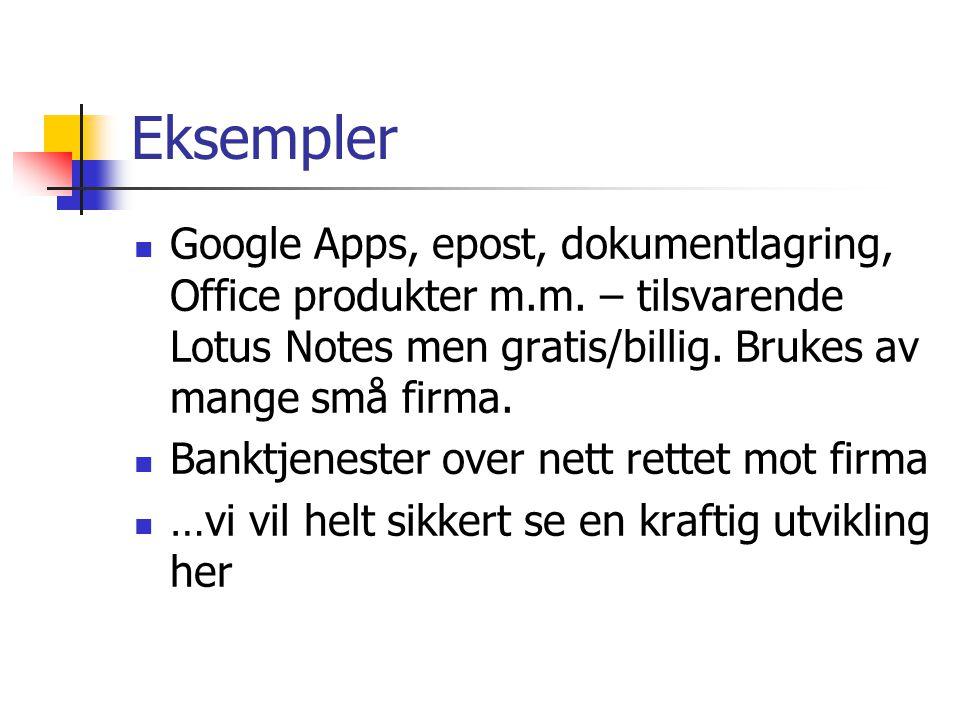 Eksempler Google Apps, epost, dokumentlagring, Office produkter m.m. – tilsvarende Lotus Notes men gratis/billig. Brukes av mange små firma.
