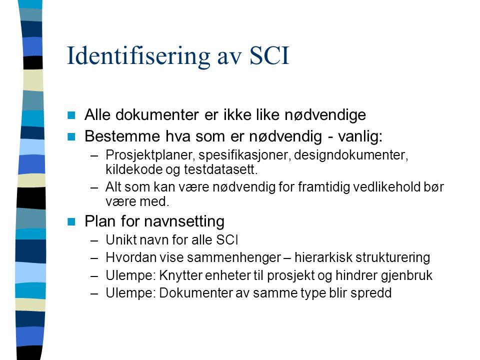 Identifisering av SCI Alle dokumenter er ikke like nødvendige