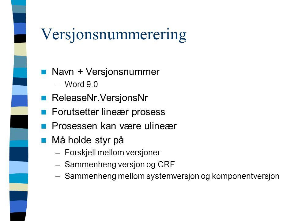 Versjonsnummerering Navn + Versjonsnummer ReleaseNr.VersjonsNr