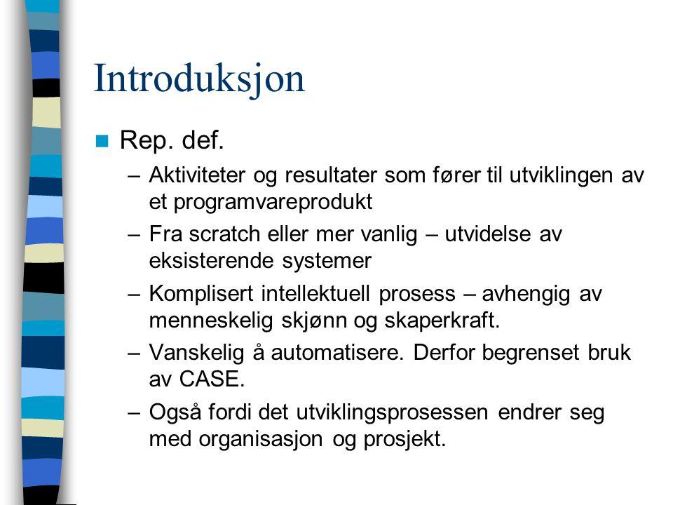 Introduksjon Rep. def. Aktiviteter og resultater som fører til utviklingen av et programvareprodukt.