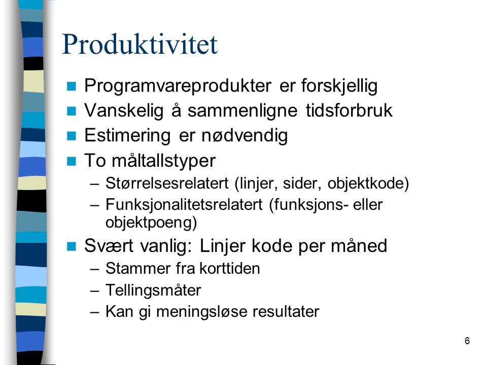 Produktivitet Programvareprodukter er forskjellig