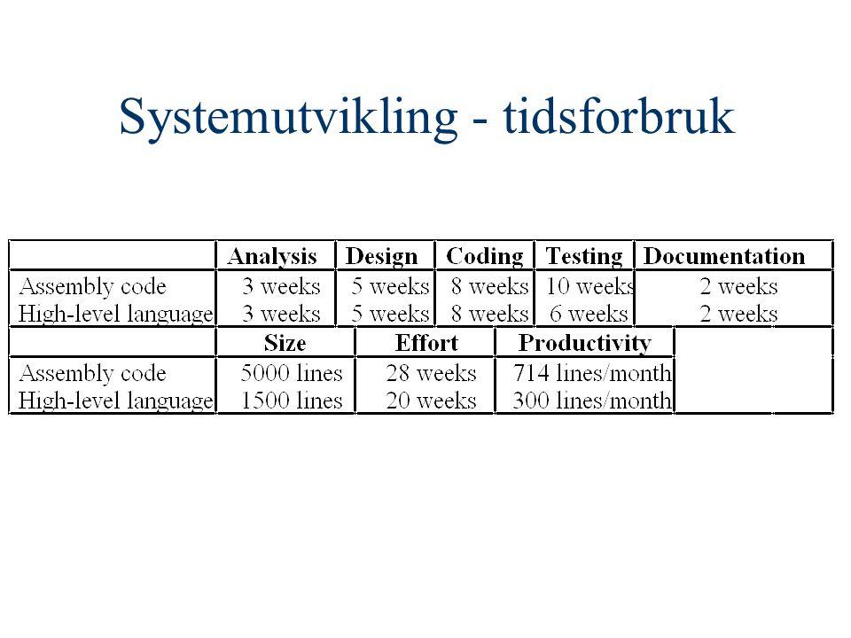 Systemutvikling - tidsforbruk