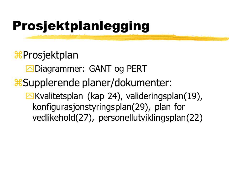 Prosjektplanlegging Prosjektplan Supplerende planer/dokumenter: