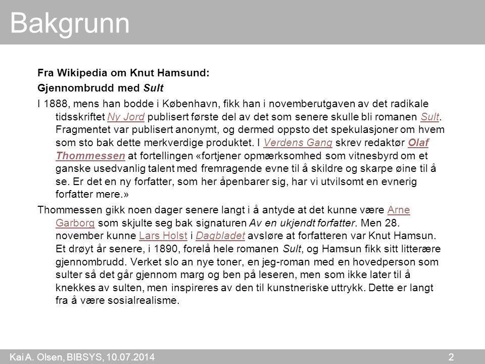 Bakgrunn Fra Wikipedia om Knut Hamsund: Gjennombrudd med Sult