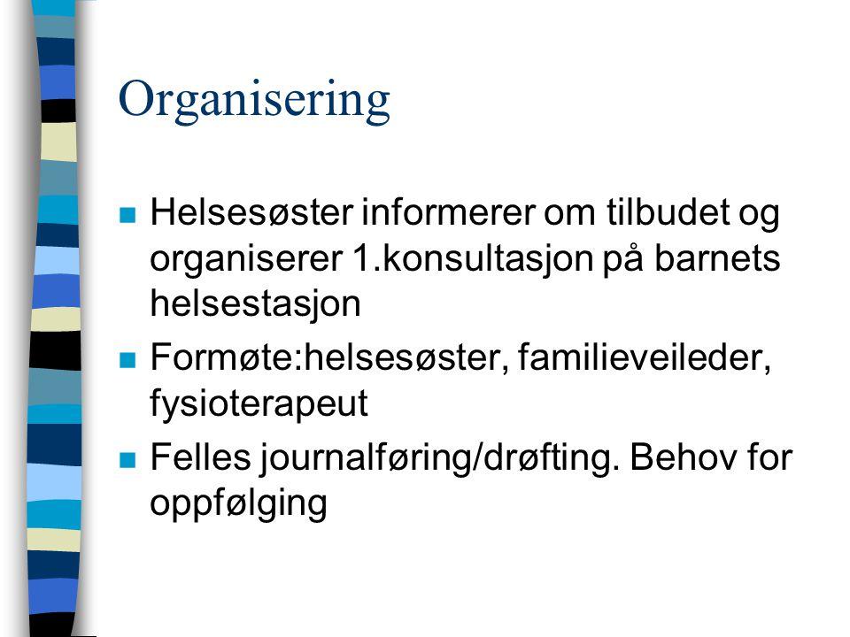 Organisering Helsesøster informerer om tilbudet og organiserer 1.konsultasjon på barnets helsestasjon.