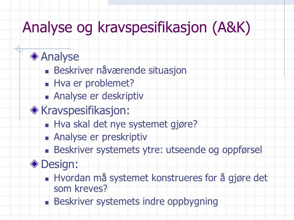 Analyse og kravspesifikasjon (A&K)