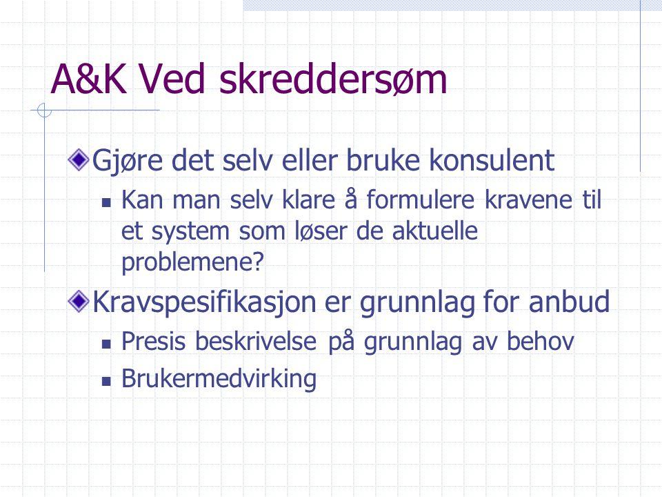 A&K Ved skreddersøm Gjøre det selv eller bruke konsulent