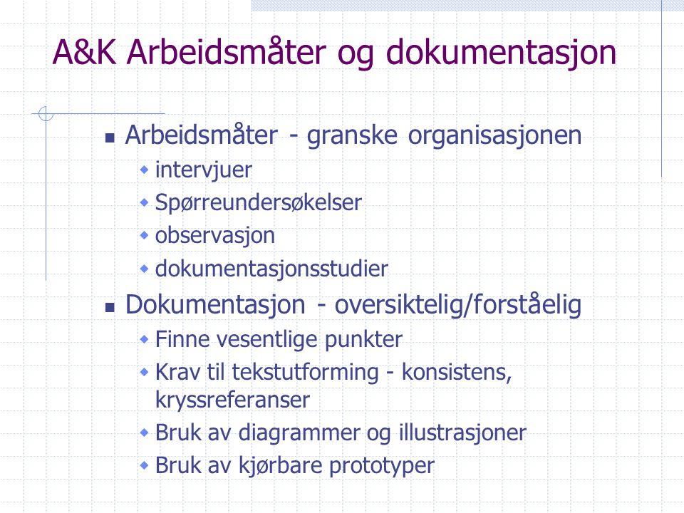 A&K Arbeidsmåter og dokumentasjon