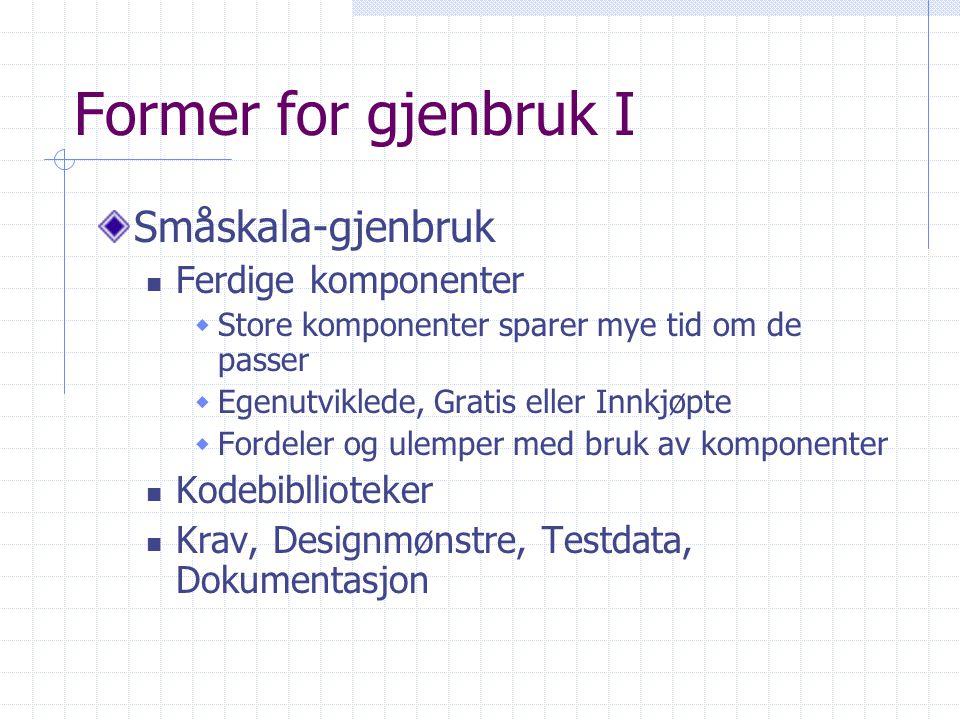 Former for gjenbruk I Småskala-gjenbruk Ferdige komponenter