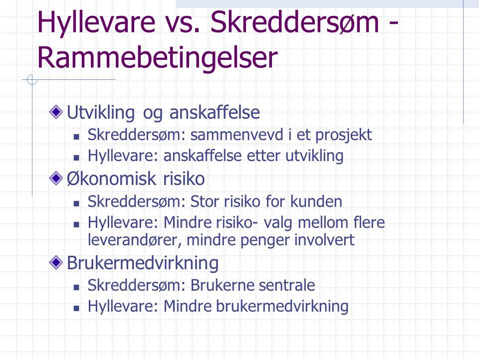 Hyllevare vs. Skreddersøm - Rammebetingelser