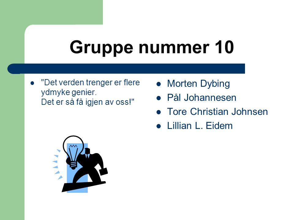 Gruppe nummer 10 Morten Dybing Pål Johannesen Tore Christian Johnsen