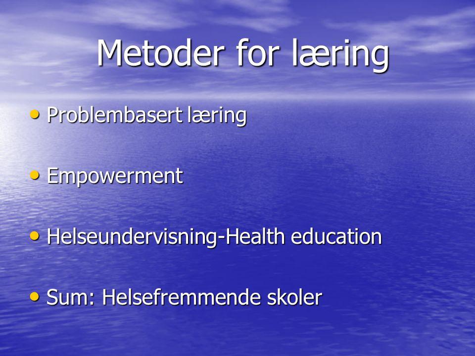 Metoder for læring Problembasert læring Empowerment